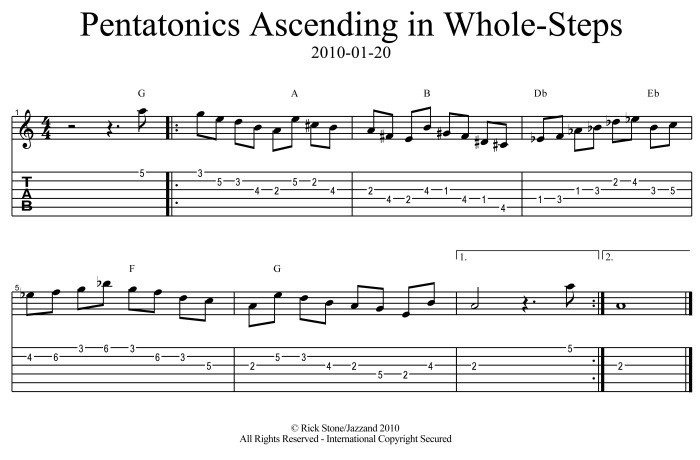 Pentatonics Ascending in Whole-Steps